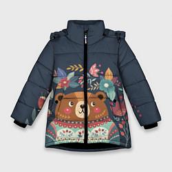 Куртка зимняя для девочки Осенний медведь цвета 3D-черный — фото 1