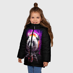 Куртка зимняя для девочки Panda Cosmonaut цвета 3D-черный — фото 2
