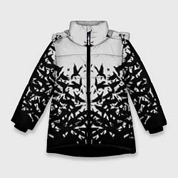 Куртка зимняя для девочки Птичий вихрь цвета 3D-черный — фото 1