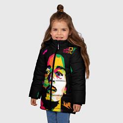 Куртка зимняя для девочки Боб Марли: фан-арт цвета 3D-черный — фото 2