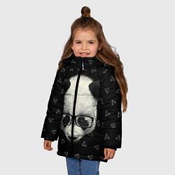 Куртка зимняя для девочки Умная панда цвета 3D-черный — фото 2