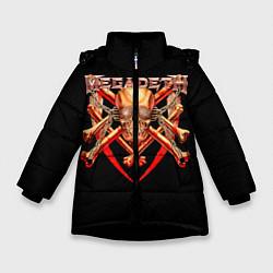Куртка зимняя для девочки Megadeth: Gold Skull цвета 3D-черный — фото 1