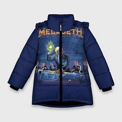 Детская зимняя куртка для девочки с принтом Megadeth: Rust In Peace, цвет: 3D-черный, артикул: 10118735606065 — фото 1