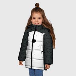 Куртка зимняя для девочки Белый мишка цвета 3D-черный — фото 2