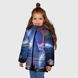 Куртка зимняя для девочки Pink Floyd: Space цвета 3D-черный — фото 2