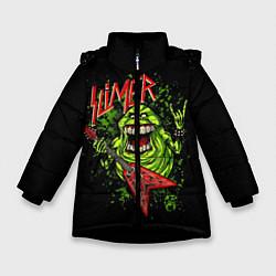 Детская зимняя куртка для девочки с принтом Slayer Slimer, цвет: 3D-черный, артикул: 10119944306065 — фото 1