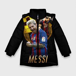 Детская зимняя куртка для девочки с принтом Messi Star, цвет: 3D-черный, артикул: 10126863506065 — фото 1