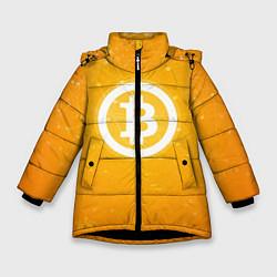 Куртка зимняя для девочки Bitcoin Orange цвета 3D-черный — фото 1