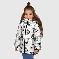 Куртка зимняя для девочки Лесные супергерои цвета 3D-черный — фото 2