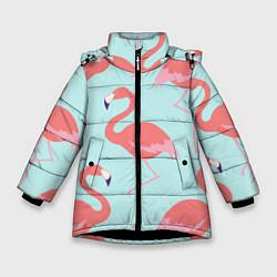 Куртка зимняя для девочки Розовые фламинго цвета 3D-черный — фото 1