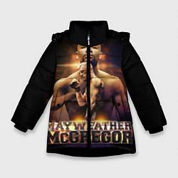 Детская зимняя куртка для девочки с принтом Mayweather vs McGregor, цвет: 3D-черный, артикул: 10132247306065 — фото 1