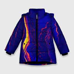 Куртка зимняя для девочки Ультрафиолетовые разводы цвета 3D-черный — фото 1