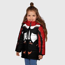 Детская зимняя куртка для девочки с принтом Metalocalypse: Dethklok Face, цвет: 3D-черный, артикул: 10134388506065 — фото 2