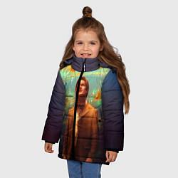 Куртка зимняя для девочки Рыбки цвета 3D-черный — фото 2