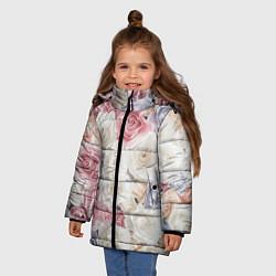 Куртка зимняя для девочки Букет из роз цвета 3D-черный — фото 2