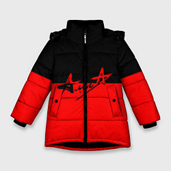 Куртка зимняя для девочки АлисА: Черный & Красный цвета 3D-черный — фото 1