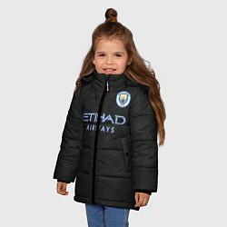Детская зимняя куртка для девочки с принтом Man City FC: Black 17/18, цвет: 3D-черный, артикул: 10137896506065 — фото 2