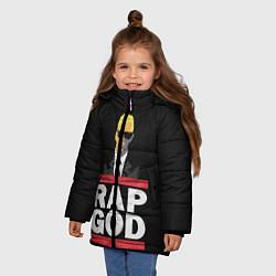 Куртка зимняя для девочки Rap God Eminem цвета 3D-черный — фото 2