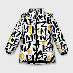 Детская зимняя куртка для девочки с принтом Letters bombing, цвет: 3D-черный, артикул: 10142799106065 — фото 1