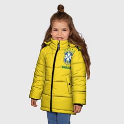 Куртка зимняя для девочки Сборная Бразилии цвета 3D-черный — фото 2