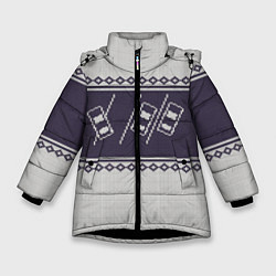 Куртка зимняя для девочки Форсаж: Зимний узор цвета 3D-черный — фото 1