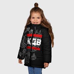Куртка зимняя для девочки ЖДВ: герб РФ цвета 3D-черный — фото 2