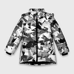 Куртка зимняя для девочки Городской серый камуфляж цвета 3D-черный — фото 1