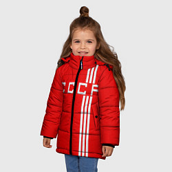 Куртка зимняя для девочки Cборная СССР цвета 3D-черный — фото 2