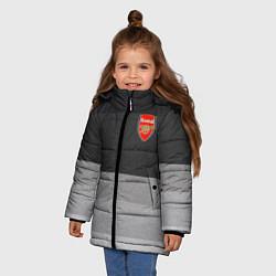 Куртка зимняя для девочки ФК Арсенал: Серый стиль цвета 3D-черный — фото 2