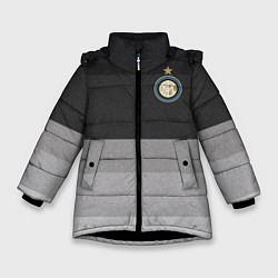 Детская зимняя куртка для девочки с принтом ФК Интер: Серый стиль, цвет: 3D-черный, артикул: 10148313906065 — фото 1