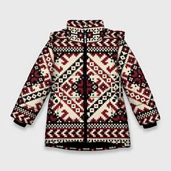 Куртка зимняя для девочки Славянский орнамент цвета 3D-черный — фото 1