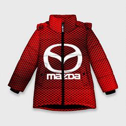 Детская зимняя куртка для девочки с принтом Mazda: Red Carbon, цвет: 3D-черный, артикул: 10150547906065 — фото 1