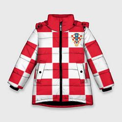 Куртка зимняя для девочки Сборная Хорватии: Домашняя ЧМ-2018 цвета 3D-черный — фото 1