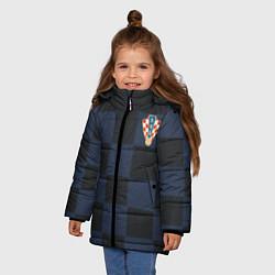 Куртка зимняя для девочки Сборная Хорватии: Гостевая ЧМ-2018 цвета 3D-черный — фото 2