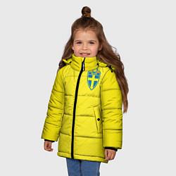 Детская зимняя куртка для девочки с принтом Сборная Швеции: Домашняя ЧМ-2018, цвет: 3D-черный, артикул: 10151654706065 — фото 2