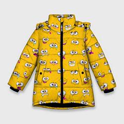 Куртка зимняя для девочки Веселый эмоции цвета 3D-черный — фото 1