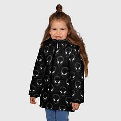 Куртка зимняя для девочки Watch Aliens цвета 3D-черный — фото 2