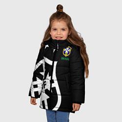 Детская зимняя куртка для девочки с принтом Brazil Team: Exclusive, цвет: 3D-черный, артикул: 10153704706065 — фото 2