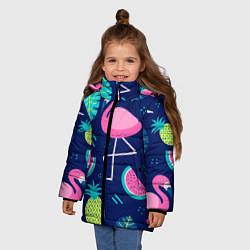 Куртка зимняя для девочки Фруктовый фламинго цвета 3D-черный — фото 2