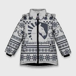 Детская зимняя куртка для девочки с принтом Team Liquid: Grey Winter, цвет: 3D-черный, артикул: 10156135106065 — фото 1