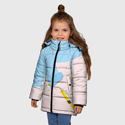 Детская зимняя куртка для девочки с принтом Голубая заливка, цвет: 3D-черный, артикул: 10157480706065 — фото 2