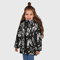 Куртка зимняя для девочки Сибирские мотивы цвета 3D-черный — фото 2