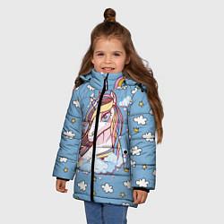 Куртка зимняя для девочки Единорог на облаках цвета 3D-черный — фото 2