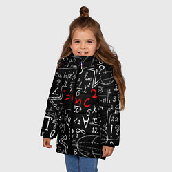 Детская зимняя куртка для девочки с принтом Формулы физики, цвет: 3D-черный, артикул: 10160468506065 — фото 2