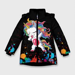 Куртка зимняя для девочки Малыш-единорог цвета 3D-черный — фото 1