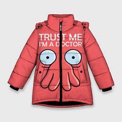 Куртка зимняя для девочки Trust Me I'm a Doctor цвета 3D-черный — фото 1