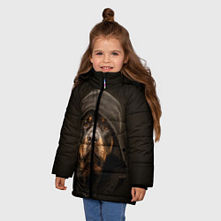 Куртка зимняя для девочки Ротвейлер в капюшоне цвета 3D-черный — фото 2