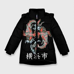 Детская зимняя куртка для девочки с принтом Иокогама, цвет: 3D-черный, артикул: 10173336306065 — фото 1