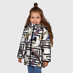 Куртка зимняя для девочки Попугаи Какаду цвета 3D-черный — фото 2