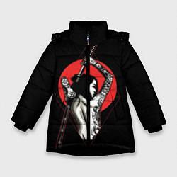 Куртка зимняя для девочки Девушка с мечом цвета 3D-черный — фото 1